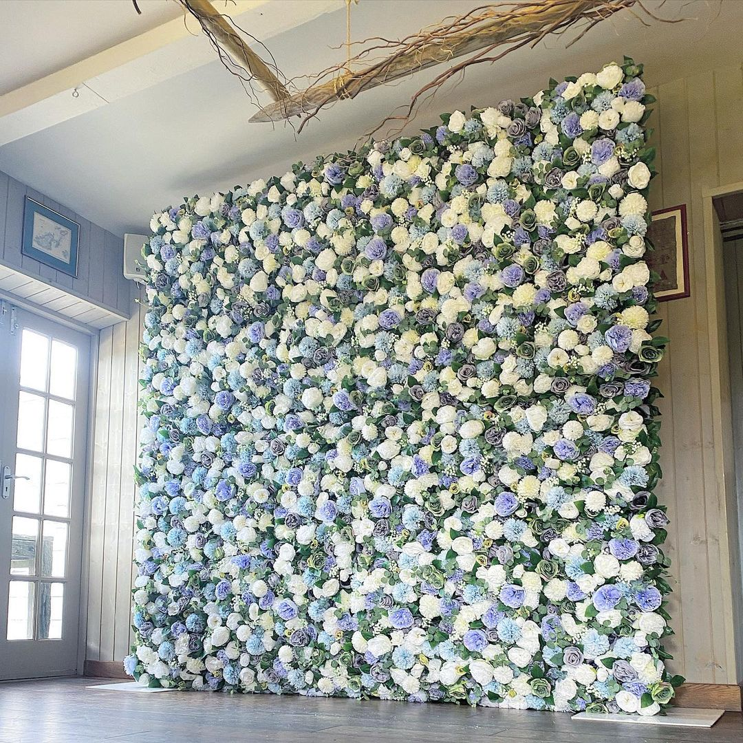 Blue Flower Wall Rental in San DIego for Weddings, Birthdays, Gender Reveals, Baby Showers, and Special Occasions